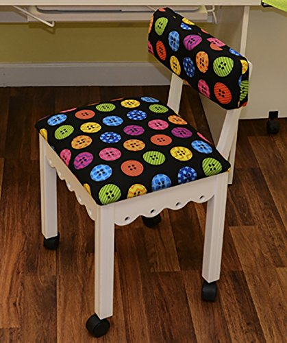 Arrow Sewing Chair in White with Button Fabric