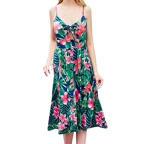 TnaIolral Ladies Dresses Boho Backless Printing Sleeveless Long Summer Skirt Green ()