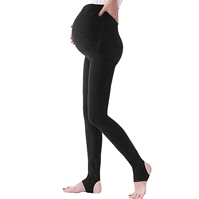 b3c6f7fbd0a27b OLCHEE Women's Maternity Pregnancy Tights Warm Fleece Lined Legging Black  (1Pack-Dark Grey,