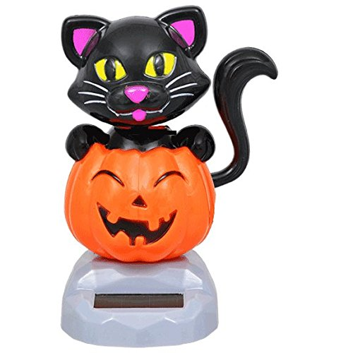 Plastic Solar Powered Dancing Halloween Cats with Pumpkins, 4