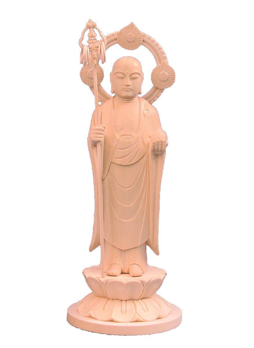 木彫仏像 地蔵菩薩 立像 円光背 円台 5寸 桧木 B01IOYA9B8