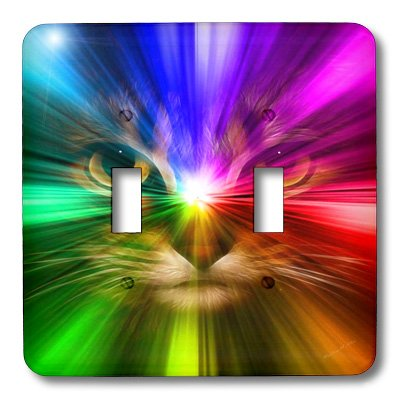 3dRose LLC lsp_18499_2 Domestic Cat Surrounded with a Rainbow of Colors Double Toggle Switch