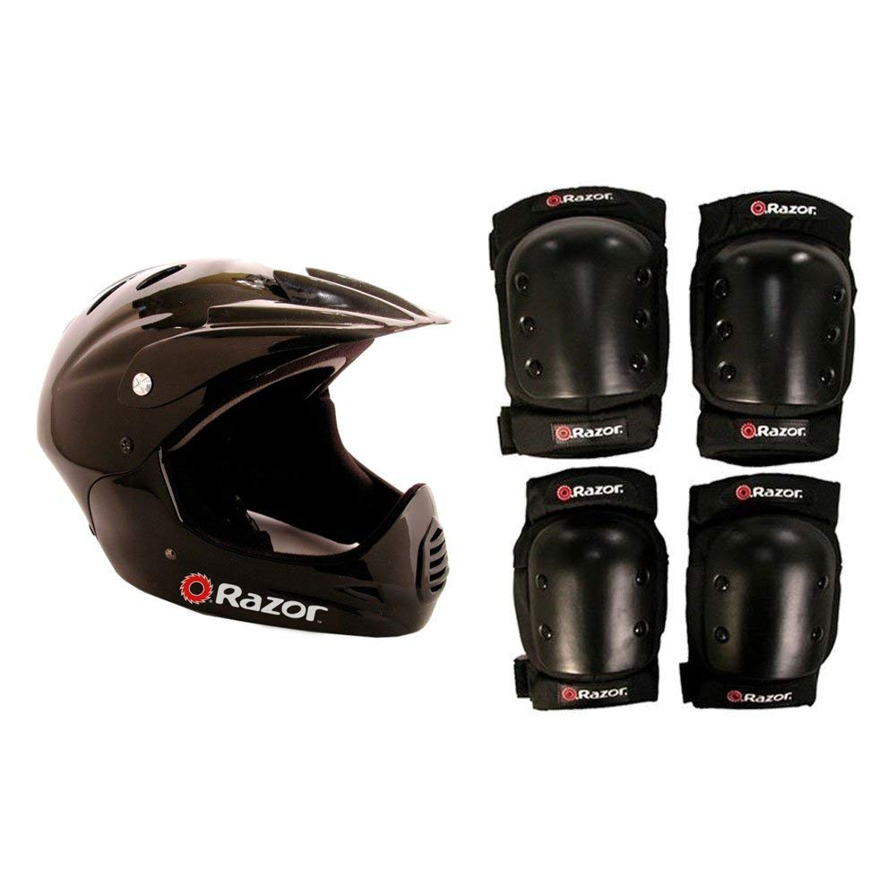 Razor Youth Full Face Riding Sport Scooter Helmet, Black + Elbow and Knee Pads