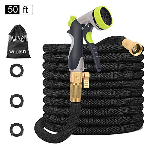 WHOBUY 50 FT Upgraded Flexible Garden Hose with 8-Patterns Spray Nozzle and Hose Storage Bag, 3/4″ Solid Brass Connectors, Expandable No Kink No Break Durable Outdoor Water Hose for Yard
