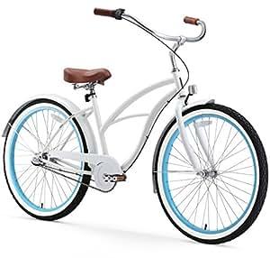 sixthreezero Women's 3-Speed 26-Inch Beach Cruiser Bicycle, BE White/Blue