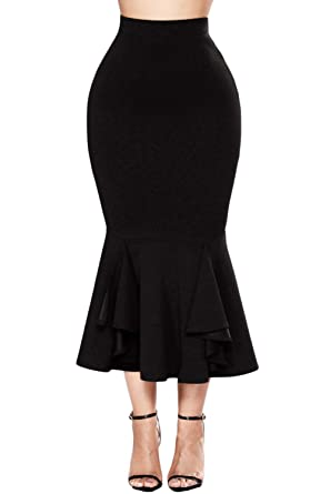 5aade9fdab FUSENFENG Women's Plus Size Vintage High Waist Bodycon Mermaid Pencil Skirt