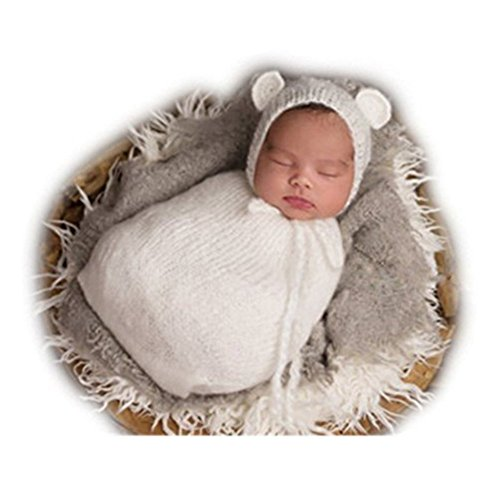 Fashion Newborn Boy Girl Baby Costume Knitted Photo Props Bear Hat Sleeping Bag