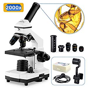 100X-2000X Microscopes for Kids Students Adults, with Microscope Slides Set, Phone Adapter,...