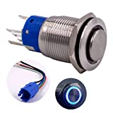 Momentary Push Button Switch, URTONE UR198, 1NO1NC Stainless Steel Shell with 24V Blue LED Ring Suitable for 19mm 3/4'' Mounting Hole, Include Socket