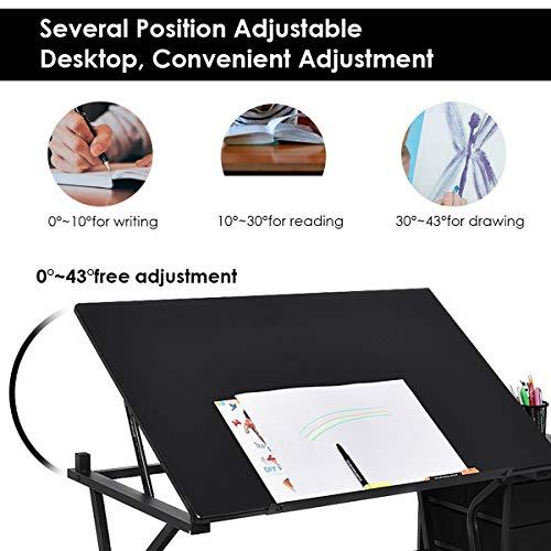 Admirable Tangkula Drafting Desk Drawing Table Adjustable With Stool Creativecarmelina Interior Chair Design Creativecarmelinacom