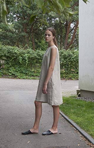 Sleeveless natural linen dress with pockets, loose linen dress, midi linen dress, loose linen tunic, handmade in Europe by d96p linen