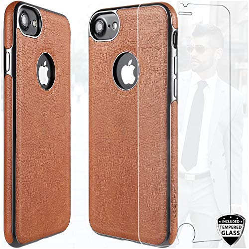 Case Faux Protector Leather (DICHEER iPhone 7 Case,iPhone 8 Case with Glass Screen Protector,Luxury Matte Brown Leather Case for Men,Dual Layer Soft Silicon TPU Bumper Best Protective Cover Classy Phone Case for iPhone 7/8)