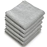 Microfiber Dish Cloths for Kitchen - Kitchen Cleaning Dish Cloth Towels Set, Absorbent Glass Cleaning Cloths for house - Extra Soft Household Cleaning Wipes Towels By DoriHom. (Grey - Set of 5)