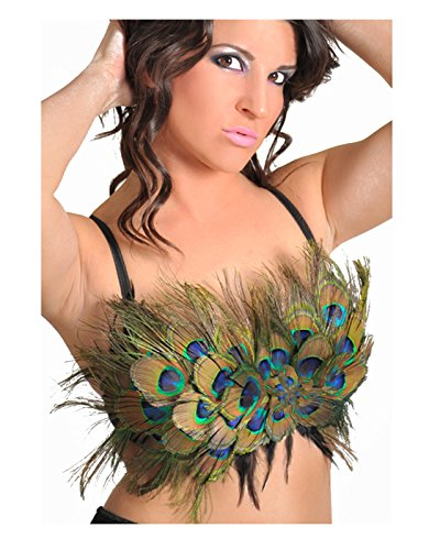 Adult Women's Peacock Feather Convertible Bra Top Multi (S/M (32-34 A/B Cup))