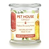 Pet House Candle in 15 Fragrances - All Natural Soy Wax Candle and Pet Odor Eliminator - Eco-Friendly, Non-Toxic, Paraffin-Free - 60-70-Hour Burn Time - Ruby Red Grapefruit