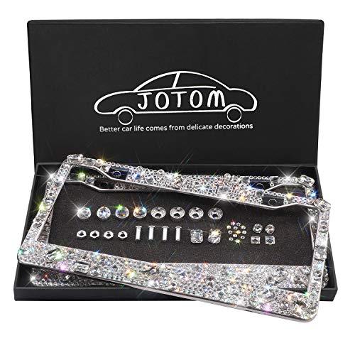 JOTOM Waterproof Handmade Finest SS20 14 Facets Bling Diamond Stainless Steel License Plate Frame (2 Pack Laxury Crystal)