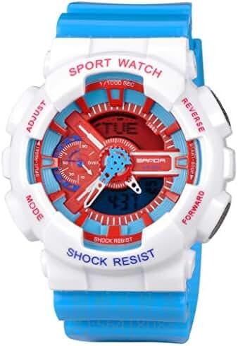 Kid's Dual Dial Analog Digital Waterproof Watch Chronograph Sport Wrist Watch White+Blue