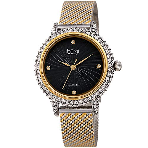 Burgi Swarovski BUR250 Women's Swarovski Crystal Studded Case Watch with 4 Diamond Markers On A Mesh Band (Silver and Gold on Black -