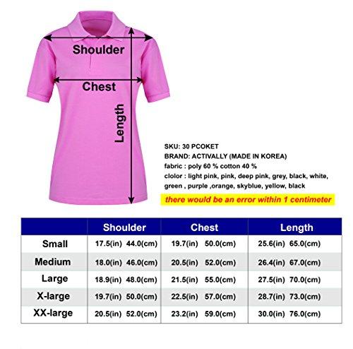 activally Women's Casual 2-Button Short Sleeve PK Polo Shirts