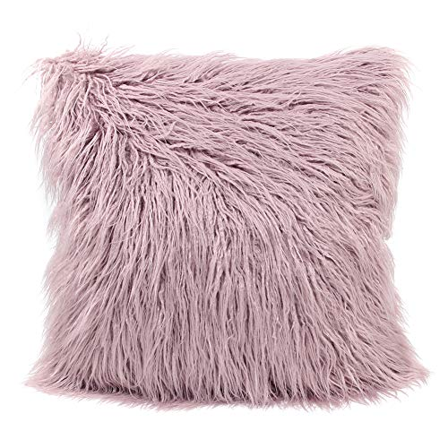 MHJY Faux Fur Pillow Case,Mongolian Fluffy Pillow Cover Soft Plush Throw Pillow Case Cushion Cover Deluxe Home Decor Bed Sofa Car Decorative Pillowcase(18 x 18 -