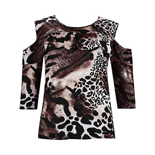 kaifongfu Women's Fashion Sexy Comfy Leopard Print Off Shoulder Long Sleeve Loose Tank Top T-Shirt -