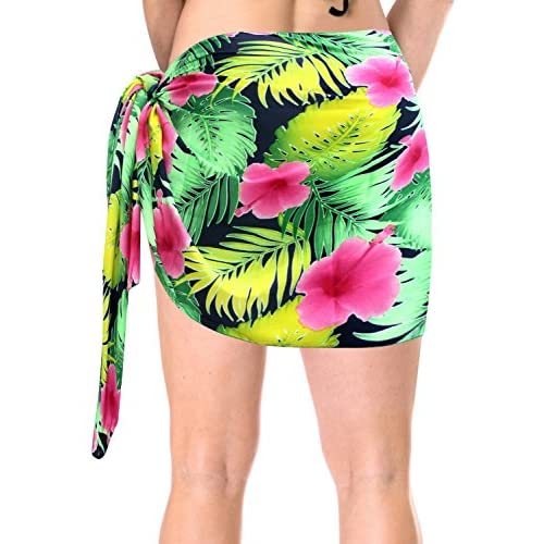 6be49cb344450 durable service La Leela Hibiscus Mini Sarong Bikini Cover ups Wrap Skirt  Swimsuit Beachwear Dress Scarf