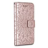 Huawei P10 Case Cover, Bravoday [Ripple] [High Quality Pu Leather] [Card Slot] [Wallet Leather Flip Case] for Huawei P10 Case, Rose Gold