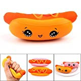 FTXJ Squishy Toys 14CM Silly Squishy Hot Dog Scented Slow Rising Squeeze Toys Stress Reliever Toys (14x6cm, A)