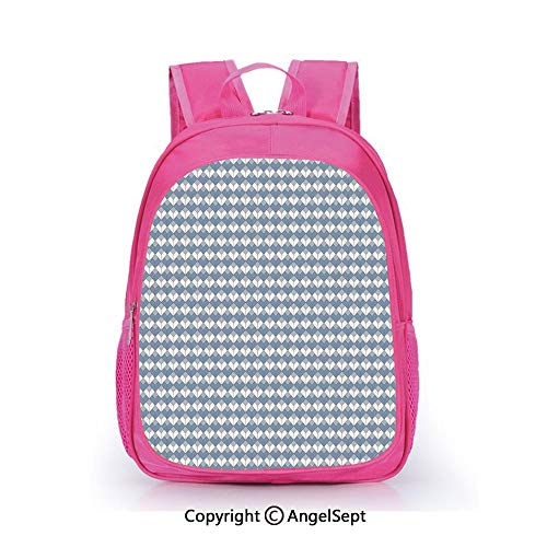 (Casual Backpack Waterproof For Kindergarten Students,Diamond Line Pattern with Vertical Lines and Squares Modern Symmetric Blue Slate Blue White,15.7inch,Backpack For Kids Water Resistance)