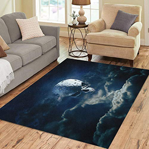 Semtomn Area Rug 3' X 5' Reaper Moon Rising 3D Render of Cratered Skull Home Decor Collection Floor Rugs Carpet for Living Room Bedroom Dining Room