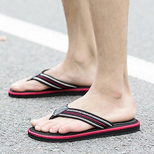 Beach - Pantoffeln, Holz Fischgräten - Flip - Flops, Männern Die Füße Rutschen, Schwarzen Gummi - Sandalen,Schwarz,Eu45