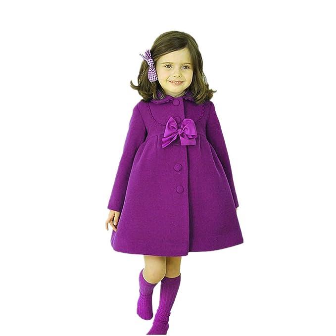 Chinatera Ropa de lana de muchachas Abrigo caliente Chaqueta elegante de chicas (140, Violeta