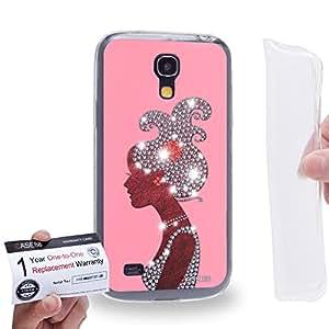 Case88 [Samsung Galaxy S4 Mini] Gel TPU Carcasa/Funda & Tarjeta de garantía - Art Fashion Salmon Pink Hairstyles Silhouettes Art1921