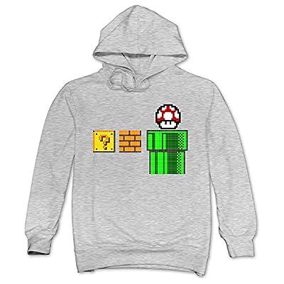 XJBD Men's Mario Unique Sweatshirt Ash