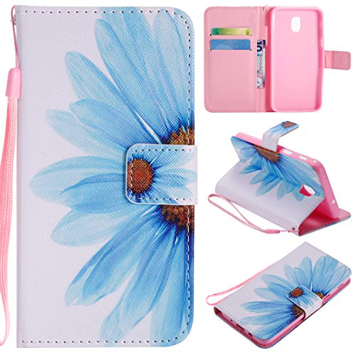 - Ostop Colorful Painted Leather Wallet Case for Samsung Galaxy J3 2018,[Kickstand Feature] Blue Sunflower Printed White PU Magnetic Flip Cover with Card Slots Wrist Strap Shockproof Shell