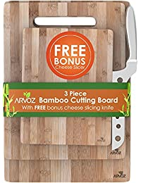 Gain 3 Piece Bamboo Cutting Board Set Made From Premium Wood - Thick Germ Resistant Anti-microbial Chopping Board Block... dispense