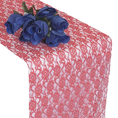 mds Pack of 10 Wedding 12 x 108 inch Lace Table Runner for Wedding Banquet Decor Table Lace Runner- Coral ()