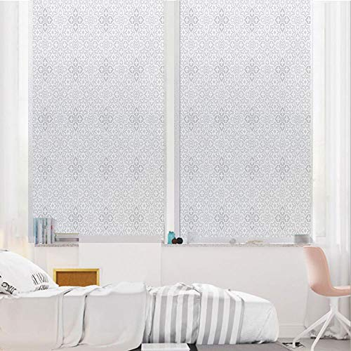 (Ivory 3D No Glue Static Decorative Privacy Window Films, Silver Winter Frozen Snowflake Like Image with Geometrical Sharp Edges Image,17.7