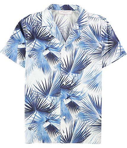Orlebar Brown Mens Nice and Palm Button Up Shirt, Blue, ()