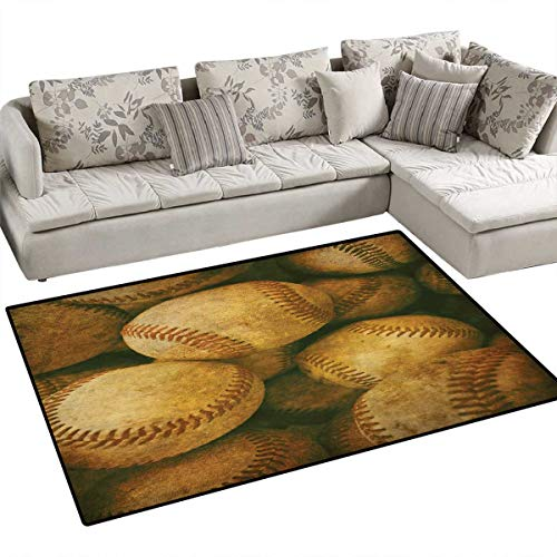 Vintage Door Mats for Inside Vintage Baseball Backgorund American Sports Theme Nostalgic Leather Retro Balls Artwork Bath Mat for Bathroom Mat 36