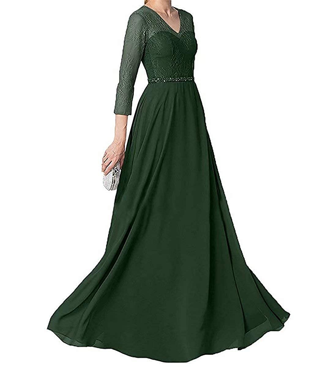 Dark Green Mother of The Bride Dresses with Sleeves Long Evening Party Dresses V Neck