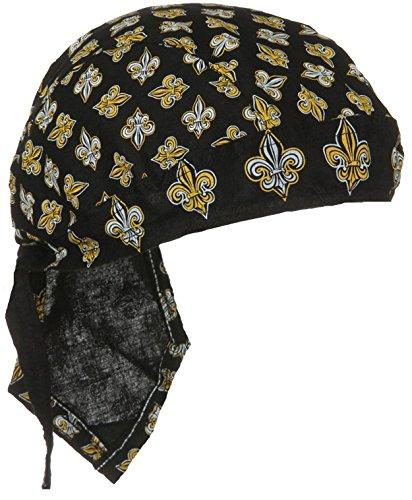 Fleur De Lis Bandana Skull Cap Headwrap Black and Gold Doo (Fleur De Lis Flap)