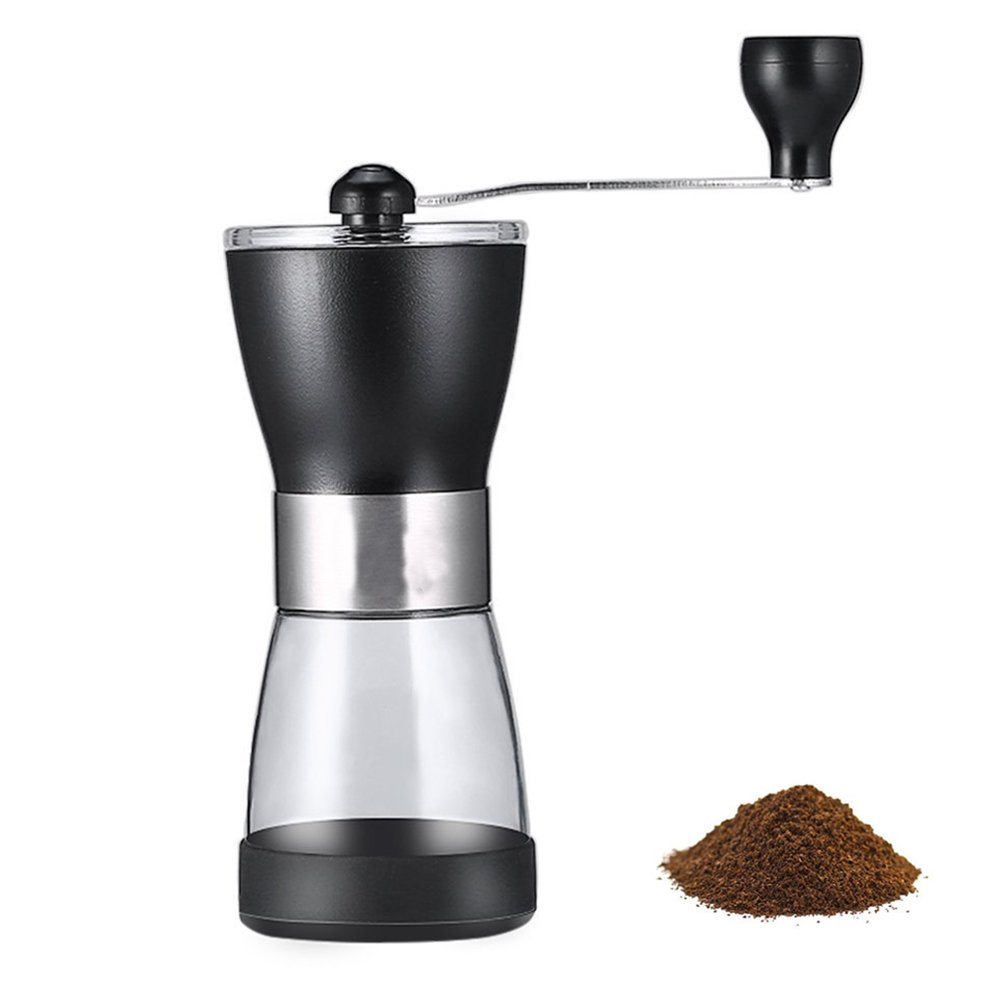 Manual Coffee Grinder-Spice Grinder-Conical Burr Mill-Conical Burr Mill-Brushed Stainless Steel Sealed Window for French Press, Turkish, Handheld Mini