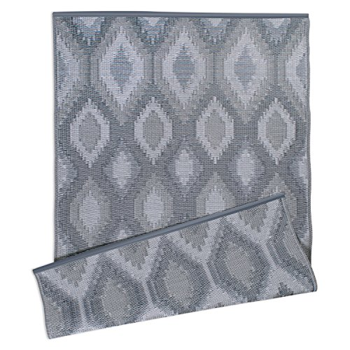 DII Contemporary Indoor/Outdoor Lightweight, Reversible, & Fade Resistant Area Rug, Use For Patio, Deck, Garage, Picnic, Beach, Camping, BBQ, Or Everyday Use - 4 x 6', Gray Ikat