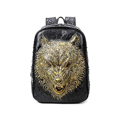 de loup filles adolescentes Mouth sac PU Open de 3D portable cool tête cuir en adapté les ordinateur bandoulière Gold dos sac mode Sac w57OAxYq