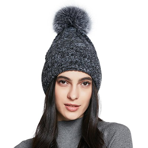 YINONIY Women's Spring and Autumn Pom Pom Wool Knitted Beanie Hat - Dark Gray+Gray