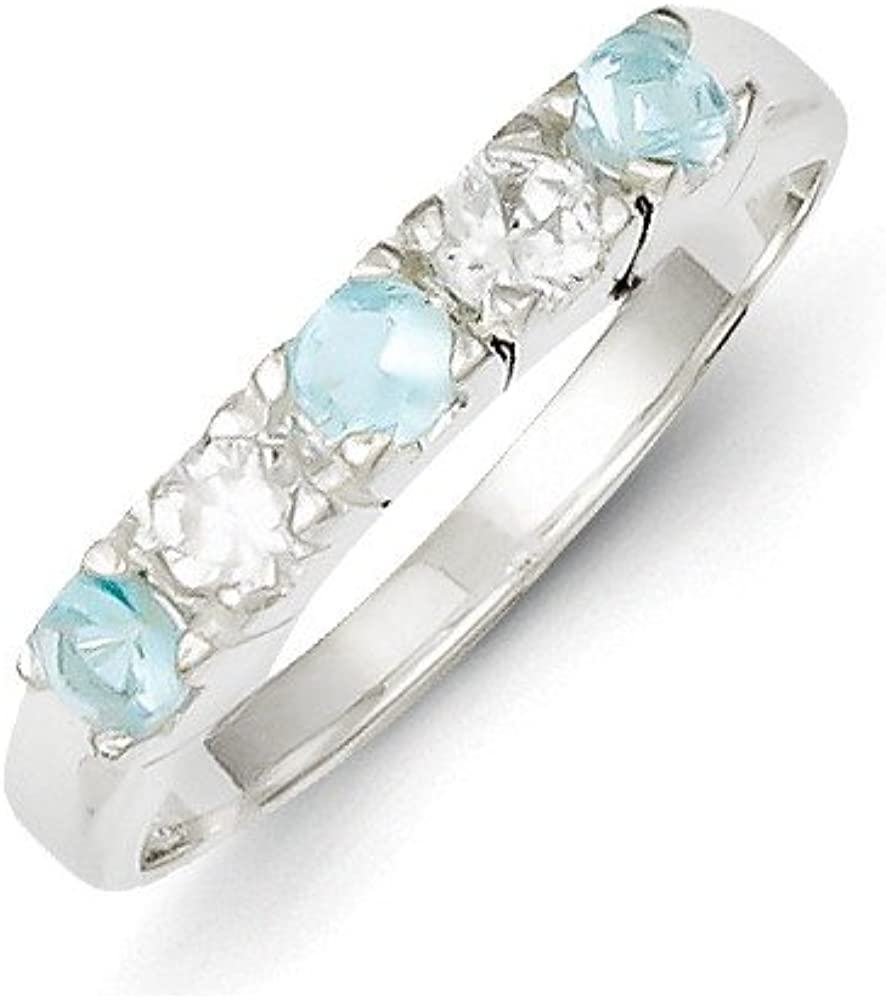 Goldia Sterling Silver Light Blue /& White Synthetic Cz Ring