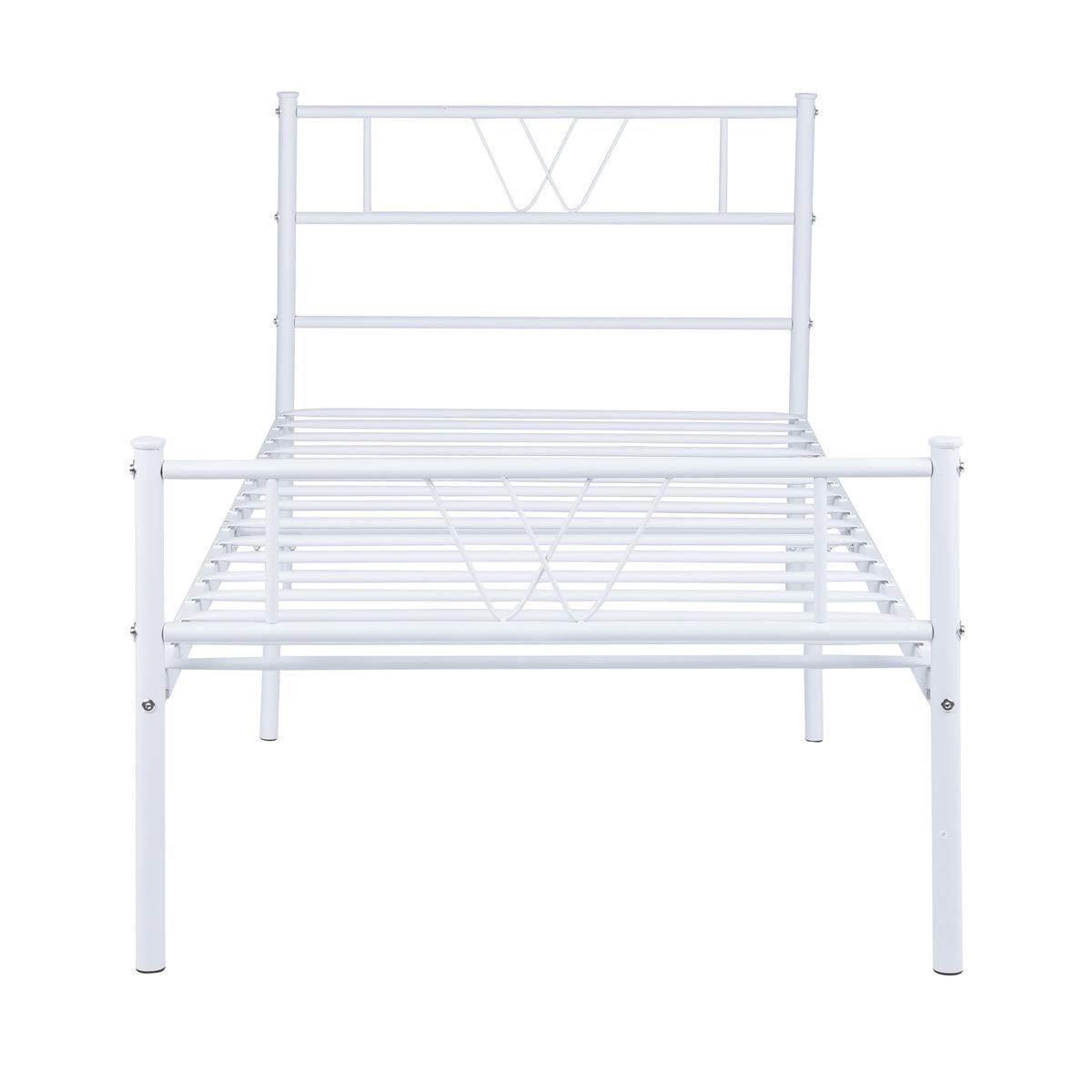 190 cm Bianco Aingoo Letto Singolo Struttura in Metallo Massiccio con testiera Classica per Adulti Bambini Adatto per Materasso 90