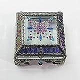 Jewel Encrusted 4X4 Glass Treasure Jewelry Box Swarovski Crystals USA made