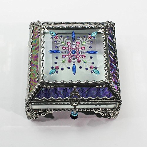 Jewel Encrusted 4X4 Glass Treasure Jewelry Box Swarovski Crystals USA made by Glass Treasure Box